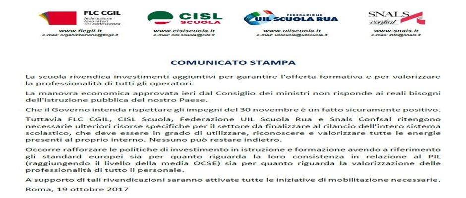 COMUNICATO STAMPA OO.SS. COMPARTO SCUOLA UNITARIO: la scuola rivendica investimenti aggiuntivi