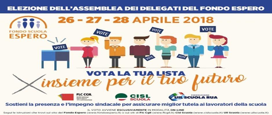 ELEZIONI DELEGATI ASSEMBLEA FONDO ESPERO: gli iscritti al fondo potranno votare Online dal 26 al 28 p.v.
