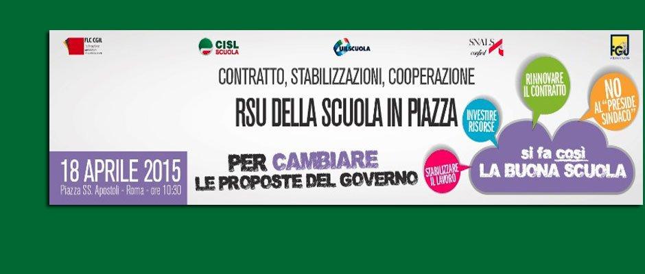 18 aprile, RSU della scuola in piazza per cambiare le proposte del Governo