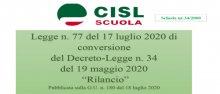 """Convertito in legge il """"Decreto Rilancio"""", scheda di lettura della CISL Scuola"""
